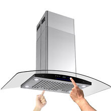 Curvy Glass 36  Island Mount Stainless Steel Range Hood Kitchen Stove Vent LED