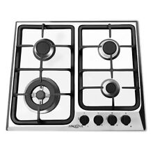 Ancona 24 in  Gas Cooktop Stainless Steel 4 Burners Triple Ring Brass Power