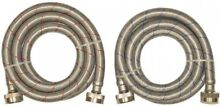 EASTMAN 2 Pack L 3 4 in Hose Thread Stainless Steel Washing Machine Connector
