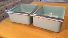 Qty 2 Vintage Enamel Refrigerator Vegetable Drawer Crisper Bin Tray Blue Metal