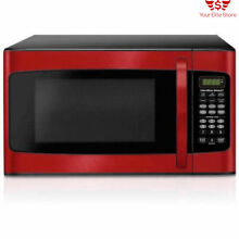 Hamilton Beach 1 1 cu FT Kitchen Microwave Oven 1000W LED Display Red Child Safe