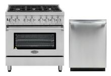 Cosmo Kitchen Appliance Package 36  Dual Fuel Range and 24  Dishwasher