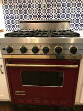 Viking VGSC3064BBUBR Professional Gas Range 30    Dark Red with Brass trim