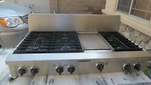 KITCHENAID KGCP483KSS 48  GAS RANGETOP  6 SEALED BURNERS   GRIDDLE