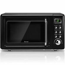 0 7Cu ft Retro Countertop Microwave Oven 700W LED Display Glass Turntable Black