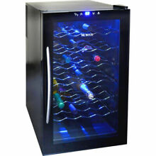 Blue Illuminated 28 Bottle Thermoelectric Wine Cooler  Black Refrigerator Cellar
