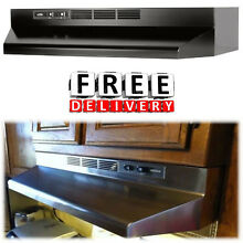 Under Cabinet Range Fan Hood Broan 30 in Kitchen 2 Speed Ductless Black