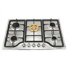 Stainless Steel 30  Built in 5 Stoves Natural Gas Hob   Gold Burner Cooktops US