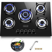 Tempered Glass 5 Burners Stove Gas Cooktop iron grates Electri Ignite Durable