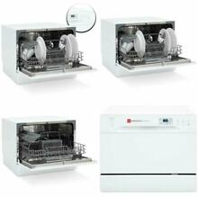 Kitchen Countertop Dishwasher Portable w 6 Wash Cycles and Preset Start Function