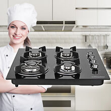 24  4 Burners Branded Tempered Glass Kitchen Stove LPG NG Gas Hob Cooktop Cook