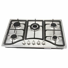 30inch Steel Built in 5 Burner Stoves  Hob   Gold NG LPG Burner Cooking Cooktop