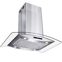 AKDY 36  Island Mount Stainless Steel Tempered Glass Kitchen Range Hood  RH0361