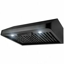 30  Under Cabinet Black Painted Finish Stainless Steel Push Panel Range Hood Fan