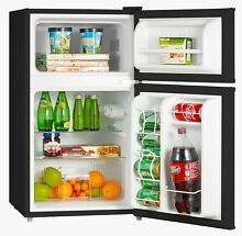 3 2 Cu ft 2 Door Mini Refrigerator w Freezer Glass Shelves Manual Defrost Black