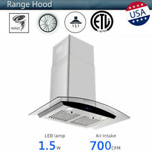 30 inch Wall Mount Stainless Steel Range Hood 700 CFM Home Kitchen 6  Vent Pipe