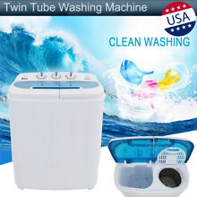 13LBS Mini Semi Automatic Compact Washing Machine Twin Tub Washer Spiner Laundry
