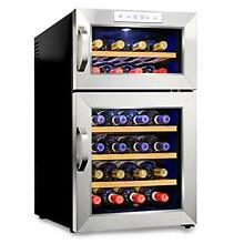 Ivation Premium Stainless Steel 24 Bottle Dual Zone Thermoelectric Wine Cooler C