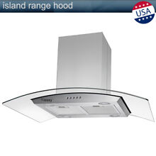 36  Stainless Steel Island Mount Range Hood with Tempered Glass Touch Panel 315W