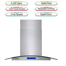 36  Tempered Glass Stainless Steel Island Mount Range Hood 900CFM with LED light