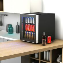 Beverage Mini Refrigerator 60 Can with Glass Door Adjustable Thermostat Durable