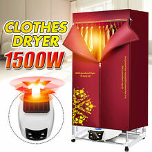 1500W Foldable Electric Clothing Dryer with Remote Control 110 240V Heater