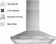 Wall Mount Range Hood 30 inch Stainless Steel Chimney Style Over Stove Vent Hood