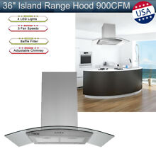 30  Stainless Steel Island Mount Range Hood 870CFM w  Tempered Glass Touch Panel