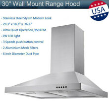 30  Wall Mount Range Hood Stainless Steel LED Mesh Filters Kitchen Stove Vented