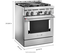 KitchenAid  30  Smart Commercial Style Gas Range with 4 Burners