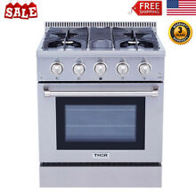 30 Inch Pro Electric Gas Range Stove 4 Burner Cooker Oven Baking Cooking Cooktop