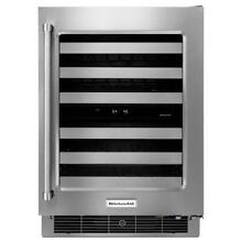 KitchenAid Wine Cellar with Glass Door and Metal Front Racks  24 Inches