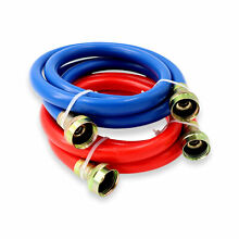 Appliance Pros Blue and Red Rubber Washing Machine Inlet Hoses 3 4 x 4 Feet  2