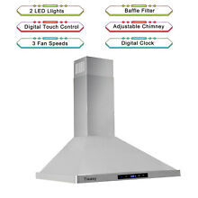 30  Ducted Kitchen Wall Mount Range Hood 760CFM Stainless Steel Filters LED Vent