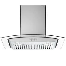 30  Wall Mount Kitchen Range Hood Stainless Steel Tempered Glass w  LED Lights