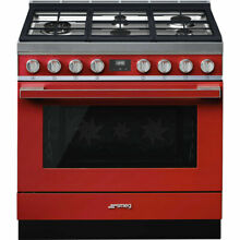 Smeg Freestanding Dual Fuel Range with 5 Sealed Burners Red  36 Inches