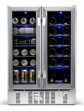 Newair 24  Built in Dual Zone 18 Bottle and 58 Can Wine and Beverage Fridge
