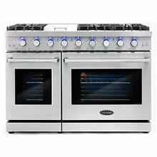 Cosmo COS EPGR486G 48 in  Slide in Freestanding Double Gas Range with 6 Seale