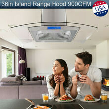 36 inch Tempered Glass Island Mount Range Hood Touch Control w LED Lights Silver