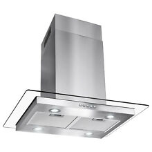 30  Flat Glass Stainless Steel Island Canopy Mount Range Hood Stove Vents Modern