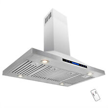 48  Kitchen Island Mount Stainless Steel Range Hood Touch Screen Display Vented