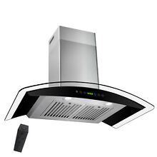 30  Wall Mount Black Stainless Steel Range Hood Kitchen Stove Vent Modern Glass