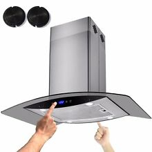 36  Glass Stainless Steel Island Range Hood Filter Stove Ventless 8 9  Ceiling