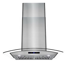 30  Stainless Steel Wall Mount Range Hood with Tempered Glass Touch Panel Baffle