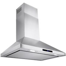 30  Stainless Steel Wall Mount Range Hood Touch Screen Display Kitchen Vented