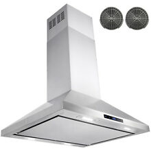 30  Stainless Steel Island Mount Range Hood Touch Screen Display Stove Ductless