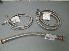 Lot of 3 SS Connector Hoses  1  6  Dish Washer  1 6  H2O Heater