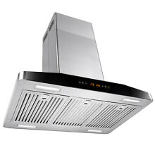 30  Island Mount Stainless Steel Range Hood Touch Panel Display Vent Cooking Fan