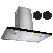 30   Stainless Steel Wall Mount Range Hood Touch Screen Control Ductless