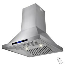 30  Stainless Steel Island Mount Range Hood Touch Screen Display Baffle w Remote